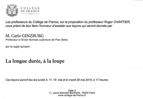 college france-Ginzburg